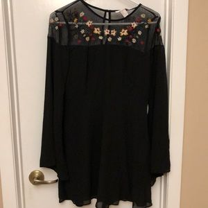 Black Dress w/ Floral Embroidery